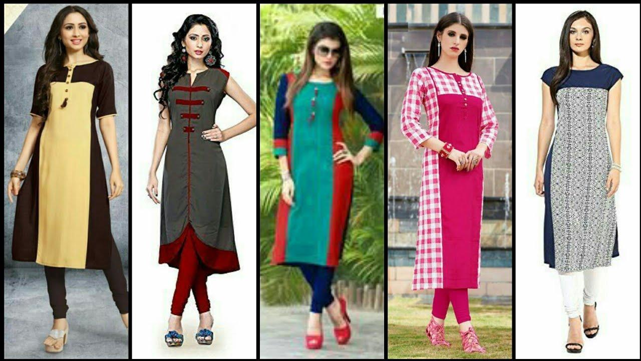 Stylish And Trendy Designer Plain And Print Designing Kurta/Kurti Dress  Design - YouTube