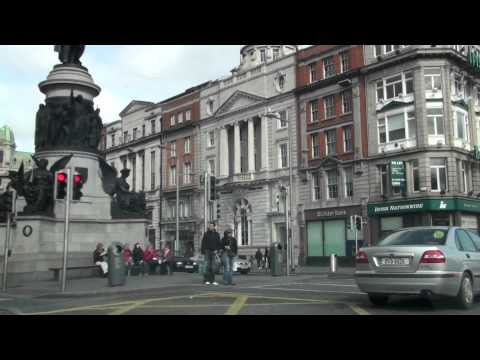 Driving around the city centre in Dublin - Ireland - HD