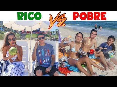 RICO VS POBRE - NA PRAIA! - KIDS FUN