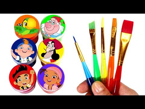 Jake and the Never Land Pirates Painting Learn Colors with Jake Izzy Cubby Skully Smee Surprise Toys