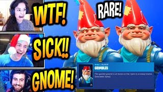 STREAMERS REACT TO NEW GNOME SKIN GRIMBLES & COLD SNAP PICKAXE RARE Fortnite FUNNY BEST Moments