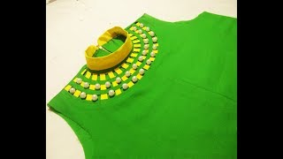 High neck collar design and back side zip in Kurti (suit) cutting and stitching