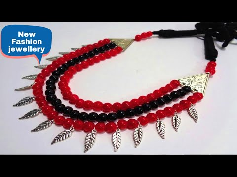 How to Make 3 Layer Glass Beads German Silver Necklace - DIY Fashion Jewellery  Making at Home