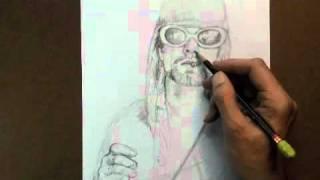 Kurt Colbain w/ anti-smoking message time lapse drawing by Peter Chorao