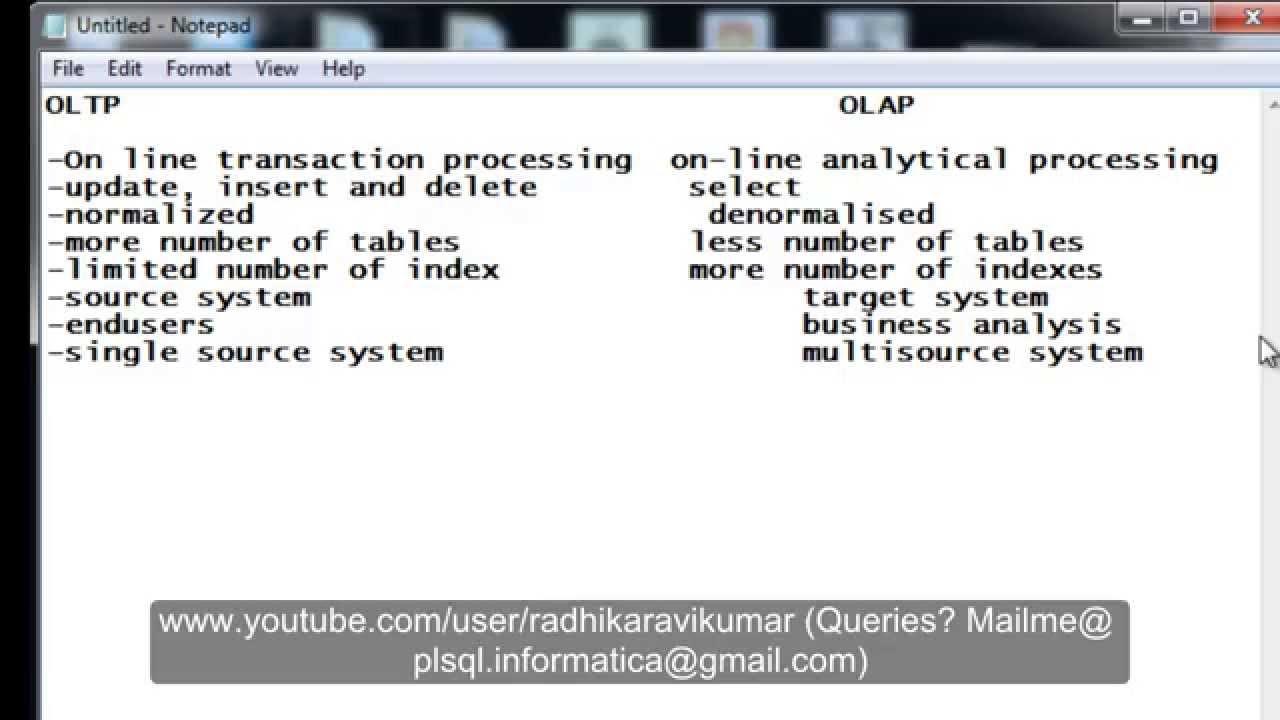 Datawarehousing : OLTP Vs OLAP - YouTube