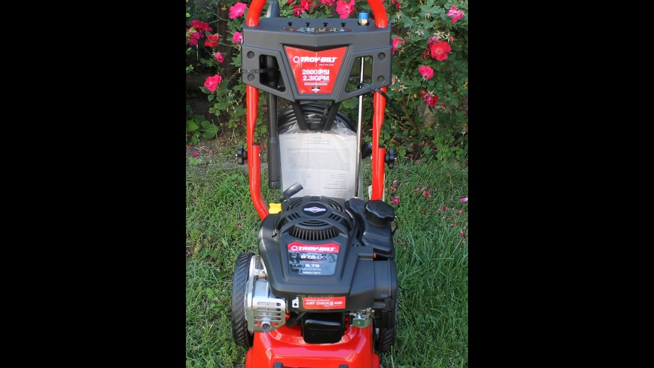 Troy Bilt 2800 Psi 2 3 Gallons Gpm Cold Water Gas Pressure Washer Carb Compliant Review Youtube