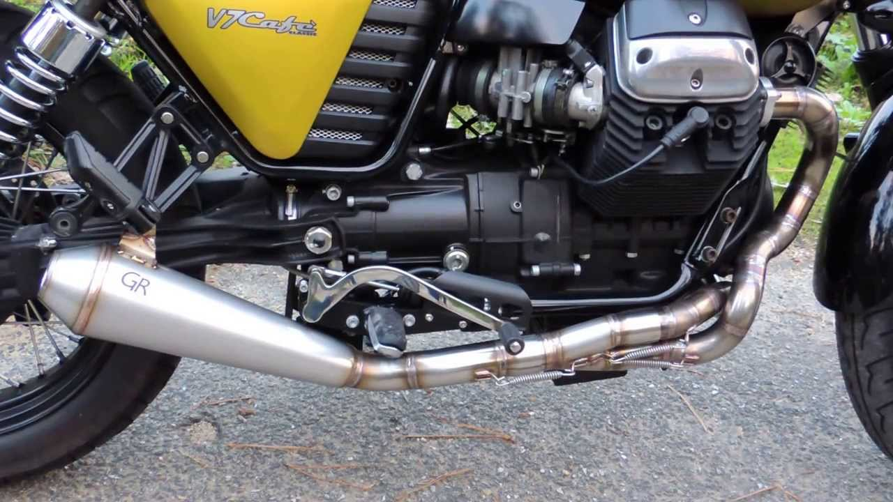 exhaust system by gr for moto guzzi v7 2 1 system youtube. Black Bedroom Furniture Sets. Home Design Ideas