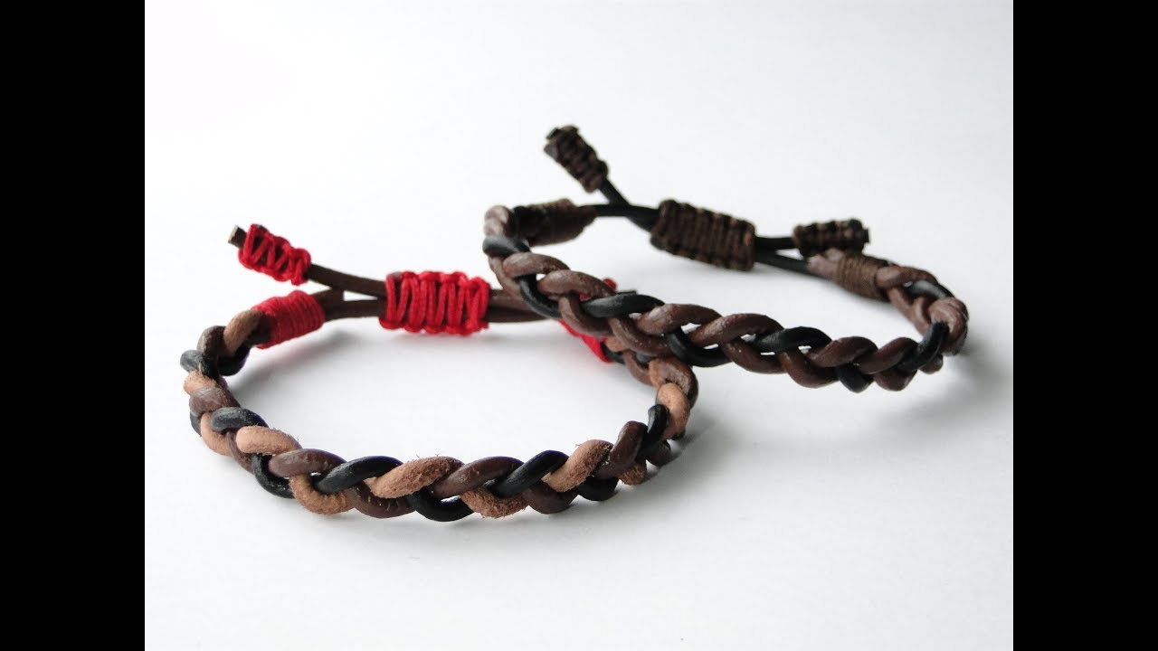 How To Make 3 Strand Flat Braid Leather Cord Bracelet Cobra Sliding Knot
