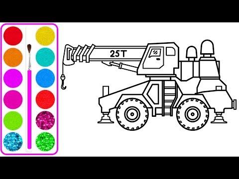 Xe cẩu bự cho bé vẽ và tô màu | Dạy bé vẽ | Dạy bé tô màu | Crane Truck Drawing and Coloring