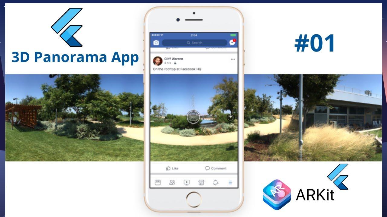 Flutter 2.0 Augmented Reality 3D Panorama App - Flutter ARKit Tutorial 01 - Panorama 360 Camera App