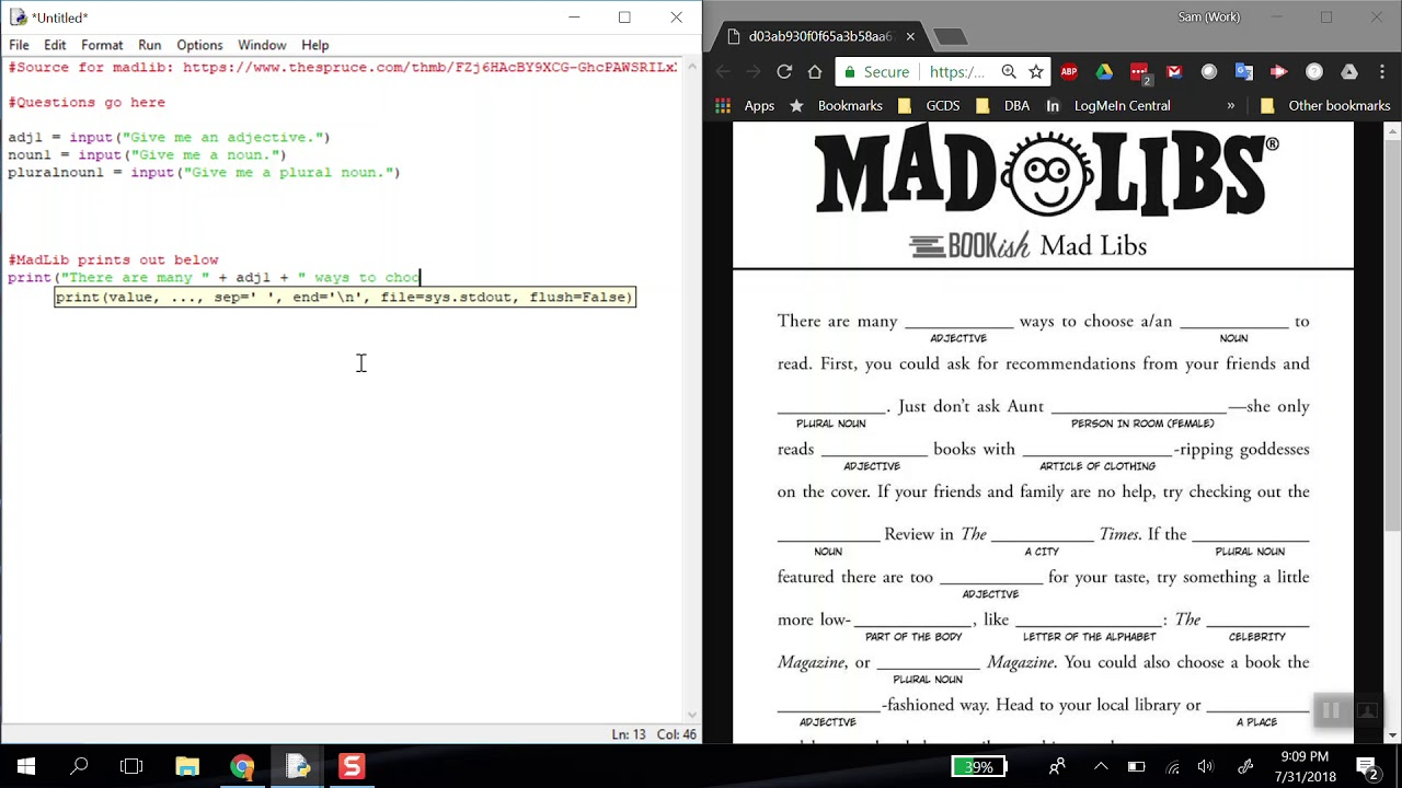 Building Mad Libs - Python 3 6