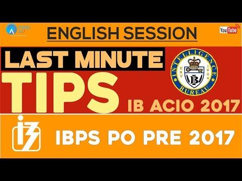 Last Minute Tips For IB ACIO and IBPS PO PRE - English
