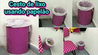 Como fazer Cesto de lixo de papelão por janaina pauferro