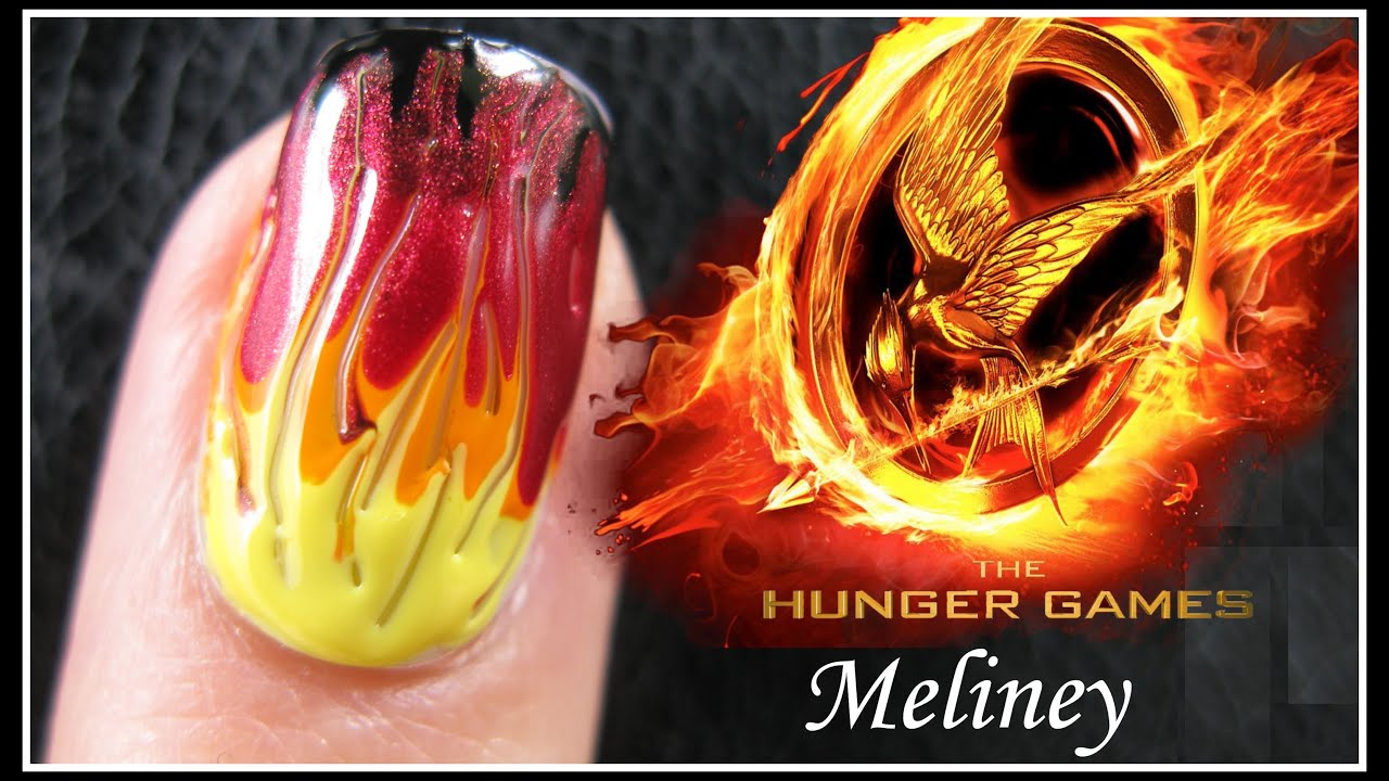 THE HUNGER GAMES CATCHING FIRE NAIL ART TUTORIAL | EASY GRADIENT ...