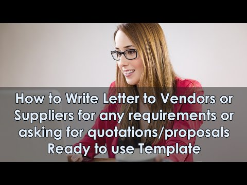 Letter To Vendors For Any Requirements