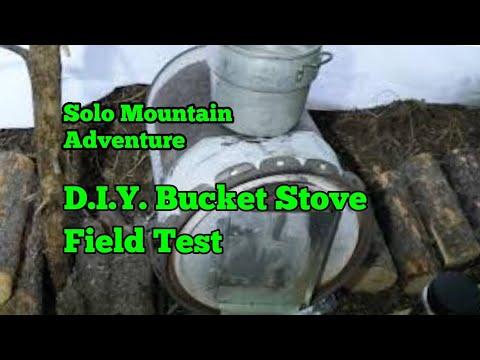 72. Winter Camping DIY Bucket Stove in Tarp Shelter - Field Test.