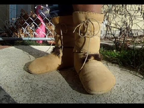 elk-hide-side-seam-moccasins-lined-with-beaver-fur-lowers-and-wool-lined,-calf-high-uppers