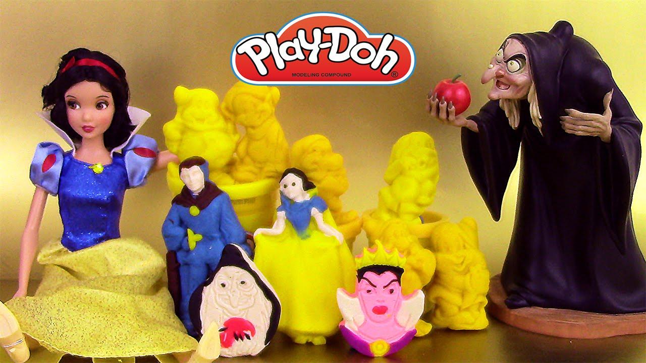 Blanche neige et les 7 nains p te modeler play doh snow white and the 7 dwarfs playset youtube - La sorciere blanche neige ...