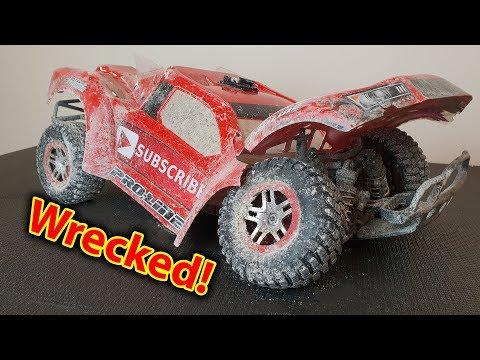 Wrecked Slash 4x4 BMX Track Traxxas RC Car (BROKE MIP SHAFT)
