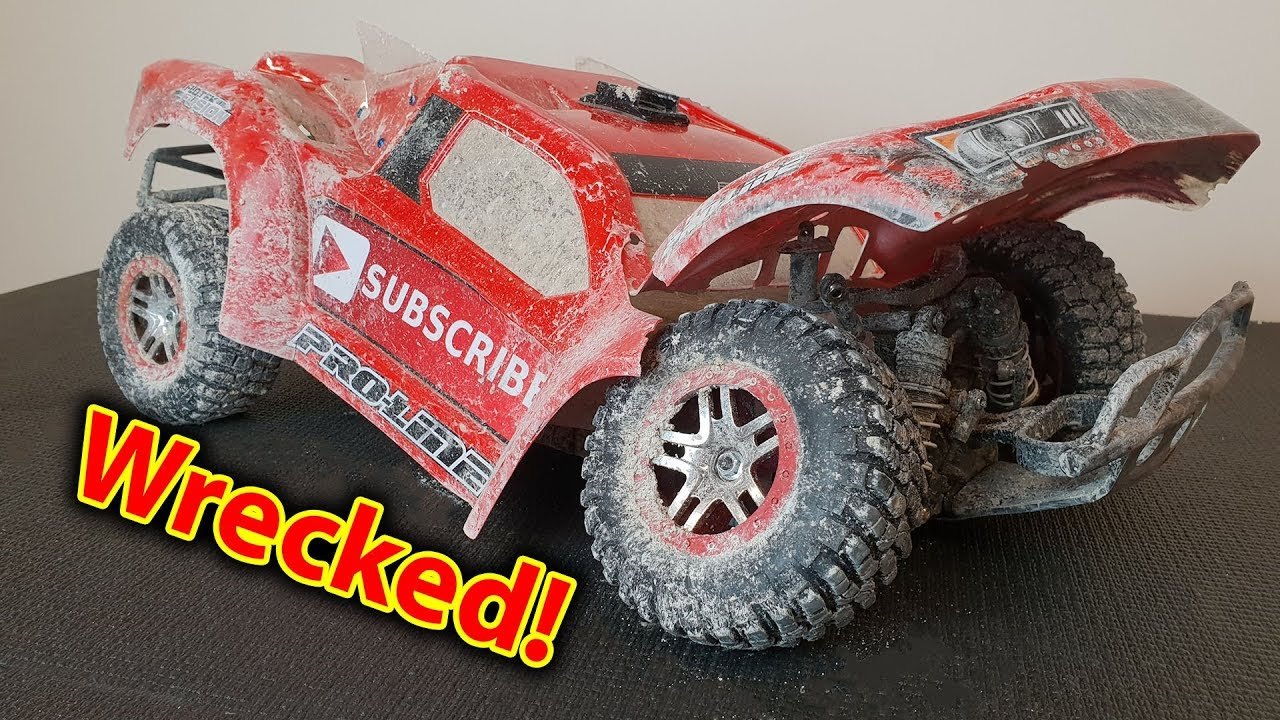 Wrecked Slash 4x4 Bmx Track Traxxas Rc Car Broke Mip
