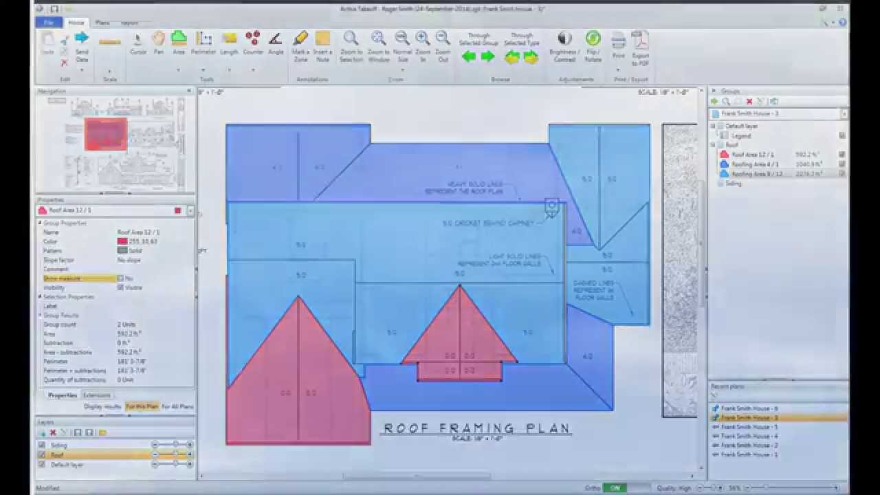 Active takeoff measuring a roof from a plan view youtube malvernweather Choice Image