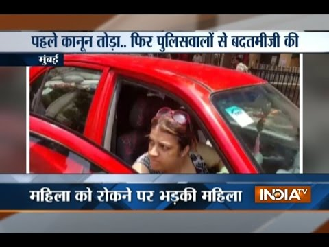 Woman misbehaves with cop after violating traffic rules in Mumbai