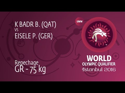 Repechage GR - 75 kg: B. K BADR (QAT) df. P. EISELE (GER) by Injury Default, 0-0