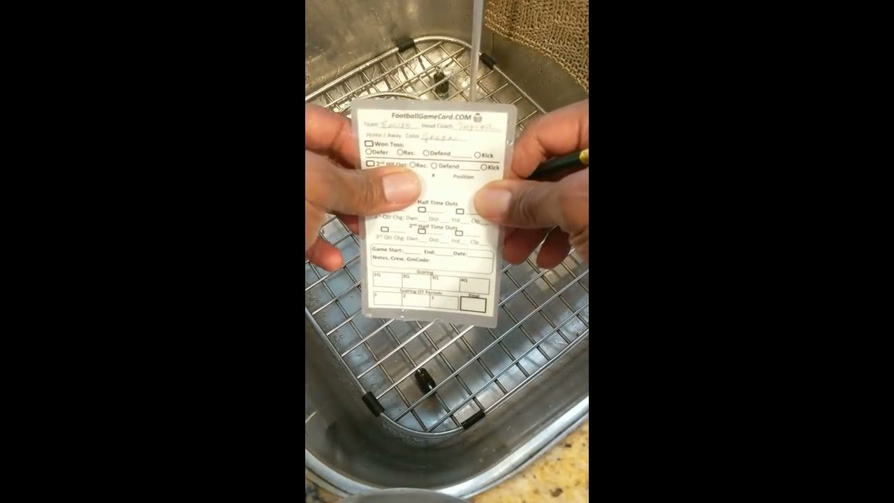 Football And Soccer Referee Game Card Demo Under Running Water