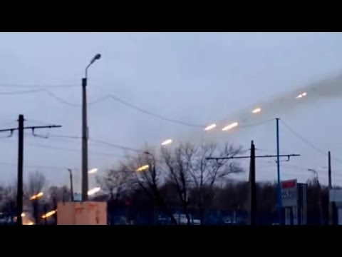 Ukraine War  - Russian rocket artillery firing in Donetsk with tens of Grad rockets