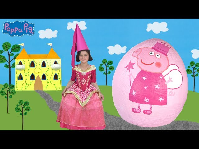 Princess Peppa Pig Giant Surprise Egg Opening! Peppa Pig Toys Unboxing Peppa Pig Theme Park Fun
