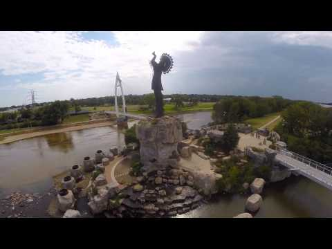 Aerial footage - Keeper of the plains Wichita Kansas - Quadcopter Drone