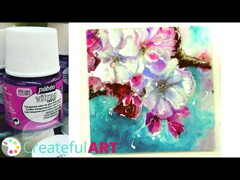 How To Paint Cherry  Blossoms Tutorial  & Use Pebeo Vitrea 160 Paints