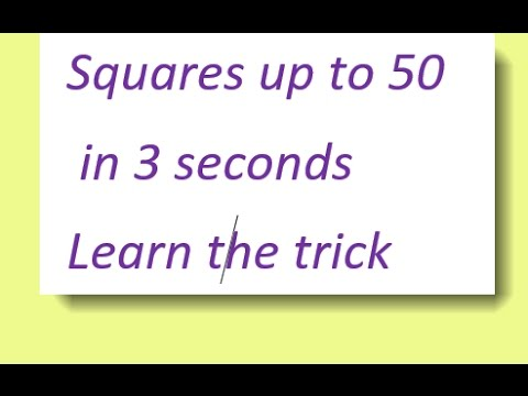 Find the squares up to 50--Easy trick for competitive exams - YouTube