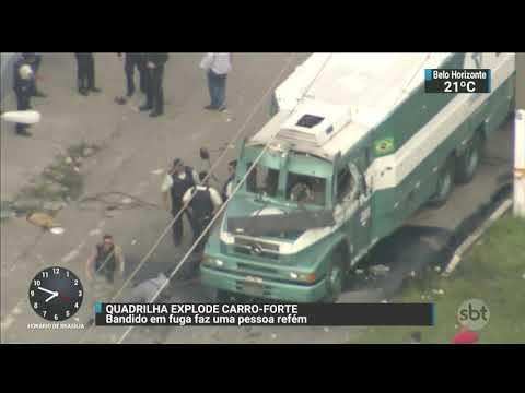 Bandidos explodem carro-forte em plena luz do dia | SBT Brasil (10/11/17)