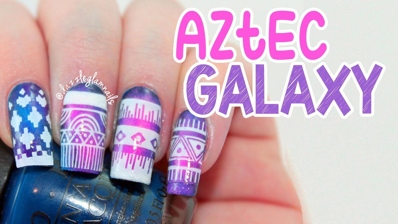 Aztec Galaxy Nail Art Tutorial - YouTube