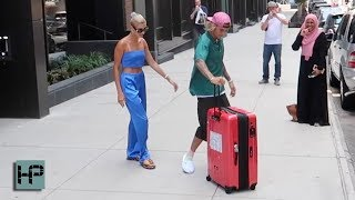 Justin Bieber Is a Gentleman!  Loads Fiance's Luggage & Grabs Coffee as Hailey Baldwin Waits