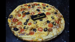 بيتزا بالصلصة البيضاء و التونة لن تجد مثلها حتى في المحلات التجارية  😋 بعجينة رطبة وبكمية كبيرة