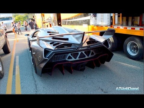 $4.5M Lamborghini Veneno & 50 Anniversary Aventador Roadster Driving On the Road! Exclusive!