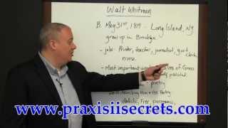 Praxis II (5038) - English Language, Literature, and Composition - Walt Whitman
