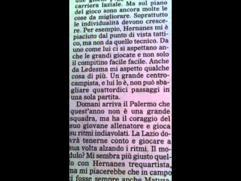 24 09 2011: Ledesma – cominciano a capire (vigilia di Lazio Palermo)