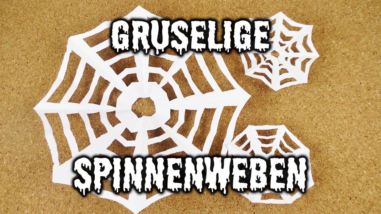 Gruselige Spinnenweben Basteln Halloween Idee Mit Spinnennetzen