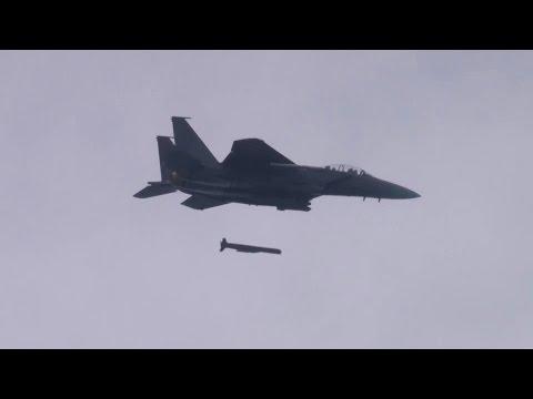 ROK Air Force - Rare F-15K Fighter SLAM-ER Guided Missile Live Firing [1080p]