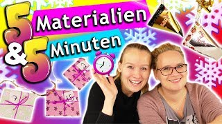 ADVENTSKALENDER CHALLENGE | 5 Min./ 5 Materialen = 2 coole DIY Ideen zum selber machen Eva vs. Kathi