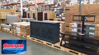 COSTCO HOME FURNITURE CONSOLES KITCHEN DINING ROOM TABLES SHOP WITH ME SHOPPING STORE WALK THROUGH