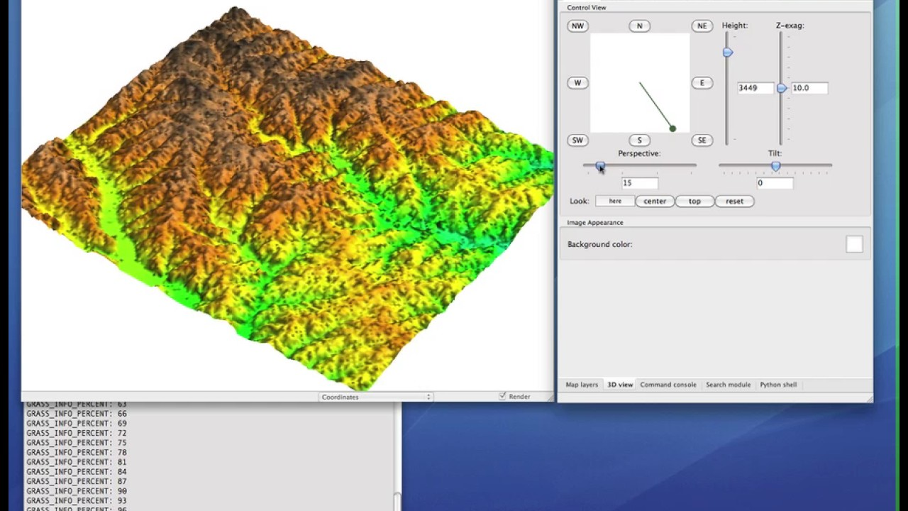 Getting started with 3D visualization in GRASS GIS 6 4: Surface