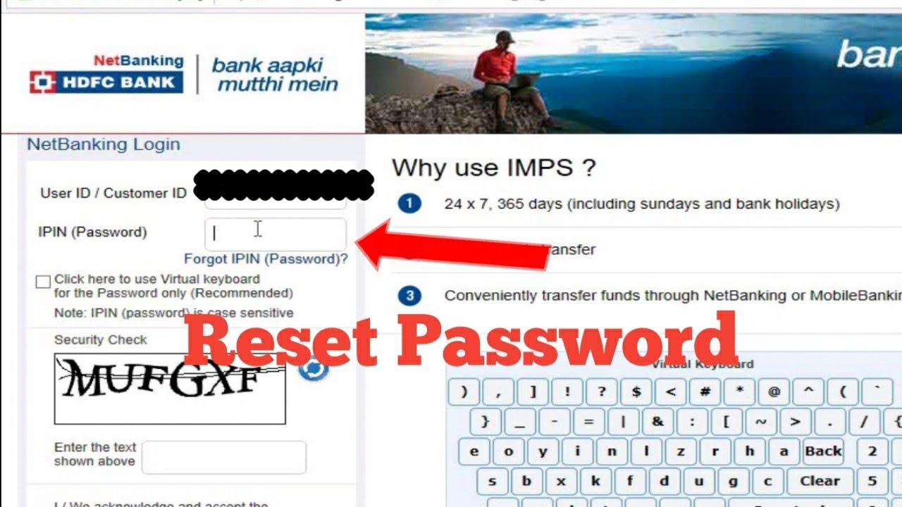 Hdfc netbanking password reset not working