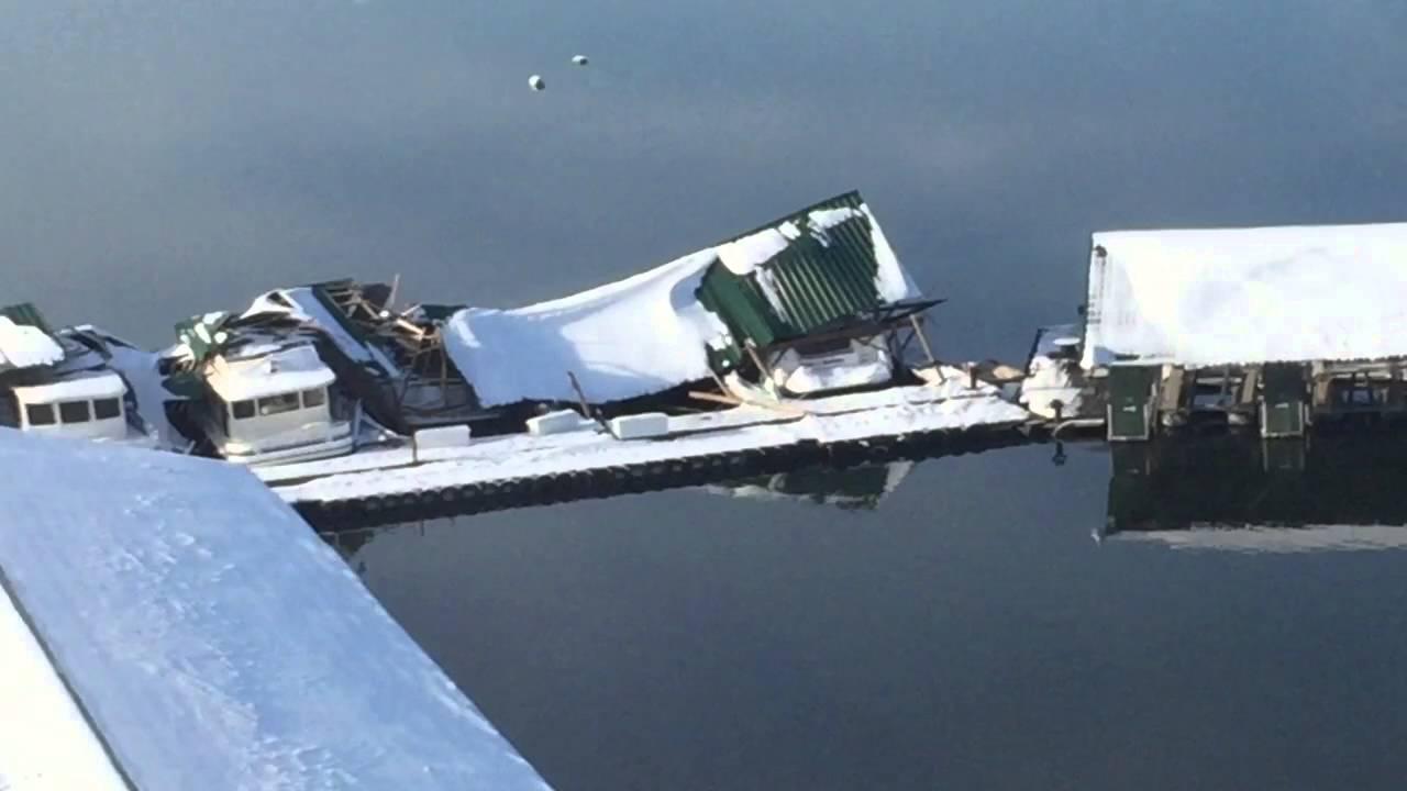 2016 Lake Cumberland Grider Hill Boat Dock Snow Damage