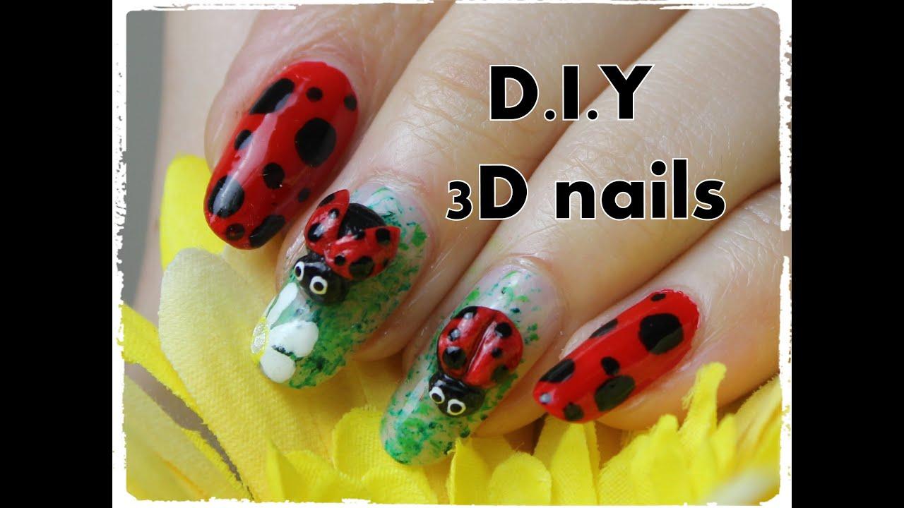 Diy 3d Ladybird Nails From Flour Youtube
