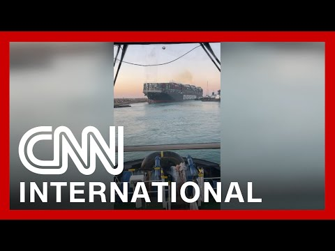 Video shows stern of ship mostly dislodged from Suez Canal bank