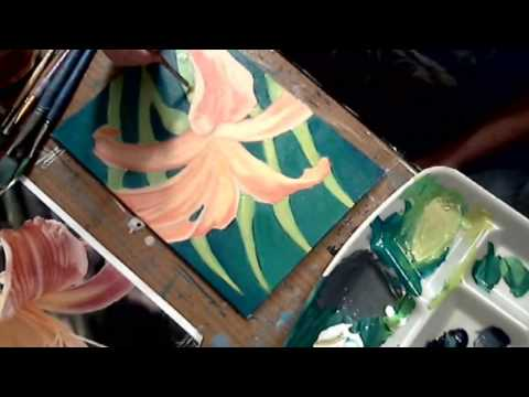 Speed Painting Lilly Flower with Acrylics Tutorial